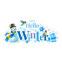Winter logo snowman winrty vector