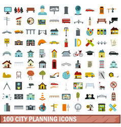 100 city planning icons set flat style vector image vector image