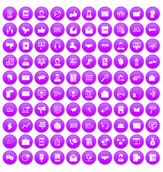 100 interaction icons set purple vector