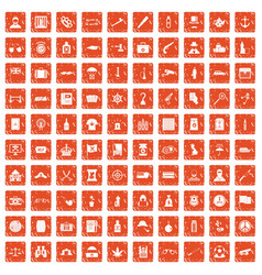 100 offence icons set grunge orange vector