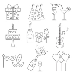 Party and celebration icons set vector