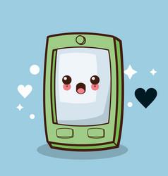 kawaii smartphone character cartoon vector image