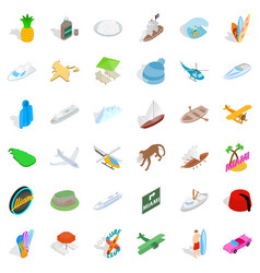 Summer miami icons set isometric style vector