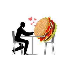 Lover fast food man and hamburger in cafe guy and vector