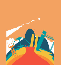 Travel brazil world landmark landscape vector