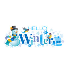Hello winter text lettering logo vector