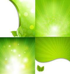 Green poster with bokeh vector