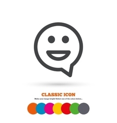 Happy face speech bubble symbol smile icon vector