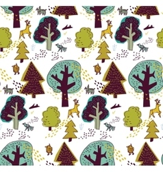 Winter forest and animal seamless pattern vector image