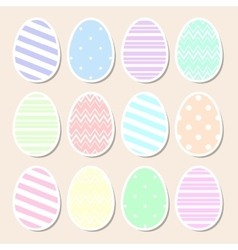 Set of pastel easter eggs vector