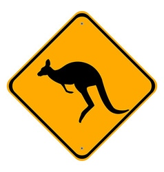 Road sign kangaroo vector image