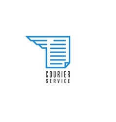 Courier service logo document file delivery blue vector