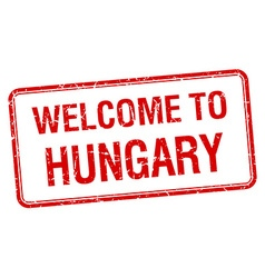 Welcome to hungary red grunge square stamp vector