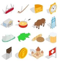 Switzerland icons set isometric 3d style vector image