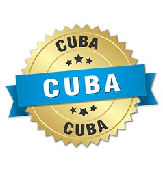 Cuba round golden badge with blue ribbon vector