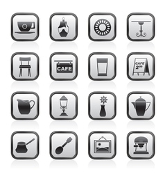 Cafe and coffeehouse icons vector