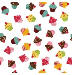 Seamless texture with different cupcakes on white vector