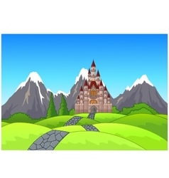Beautiful castle on the hill vector