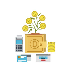 Bitcoin wallet growing currency with credit cards vector