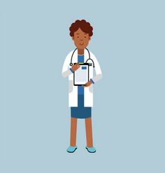 Black female doctor character in a white coat vector