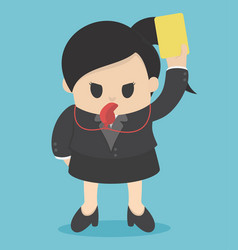 Business woman showing yellow card concept for vector