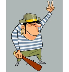 Cartoon man in a pirate costume with baton shows vector