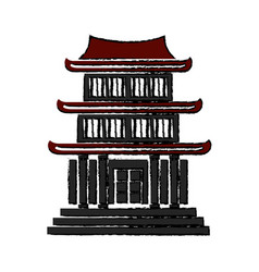 chinese building ancient temple tower pagoda vector image vector image