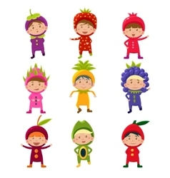 Cute children in fruit and berry costumes vector