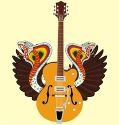 electric guitar and snake wing vector image