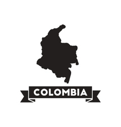 Flat icon in black and white columbia map vector