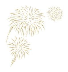 gold fireworks on white background vector image