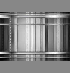 grey tech background with silver stripes vector image vector image