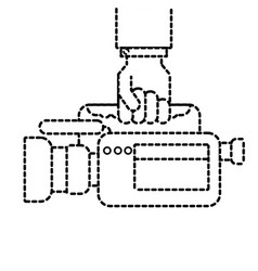 Hand holding camcorder film video equipment vector
