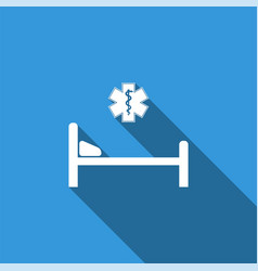 hospital bed with star of life icon vector image