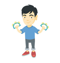 Little asian boy playing the tambourine vector