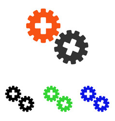 Medical gears flat icon vector
