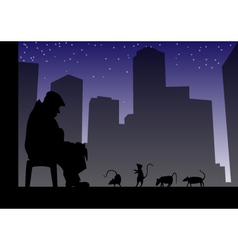 old man and rats vector image