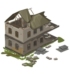 One two-storey destroyed building isolated vector