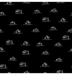Piranha seamless pattern many bloodthirsty marine vector
