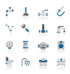 plumbing objects and tools icons vector image vector image