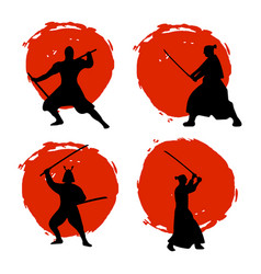 Set of samurai warriors silhouette on red moon vector