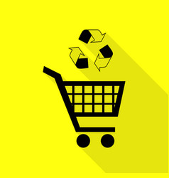 Shopping cart icon with a recycle sign black icon vector