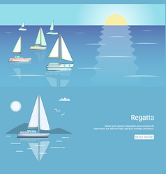 yacht club flyer design with sail boat luxury vector image