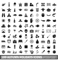 100 autumn holidays icons set simple style vector