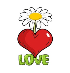 Love red heart and flower template for tattoos vector