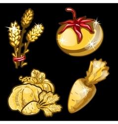 Golden vegetables on black background vector