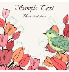 Vintage background with birds and tulip flowers vector image