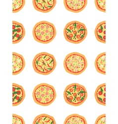Seamless pattern with different pizza background vector