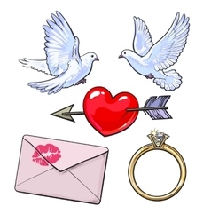 Wedding engagement icon set with doves heart vector