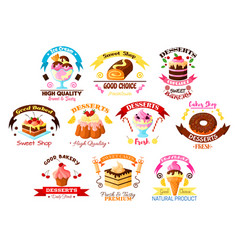 Desserts and cakes icons or emblems set vector